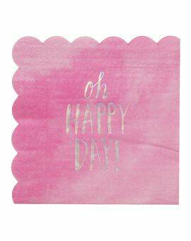 Servetten roze 'oh happy day'